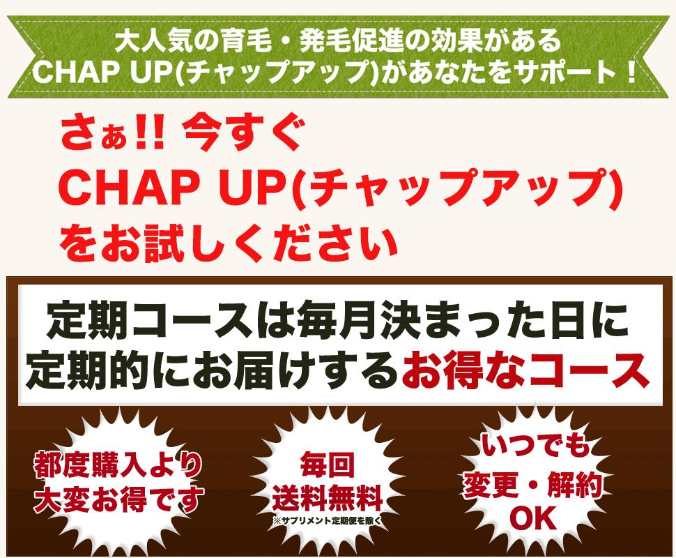 大人気の育毛・発毛効果のあるCHAP UP(チャップアップ)があなたをサポート!
